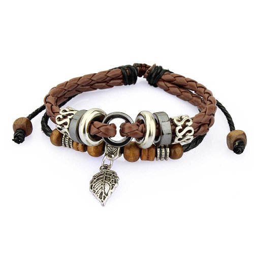 Unisex Multiple Strands Brown Leather Bracelet Silver Leaf Charm, Adjustable Wristband for Men and - International Price Shipping Usps