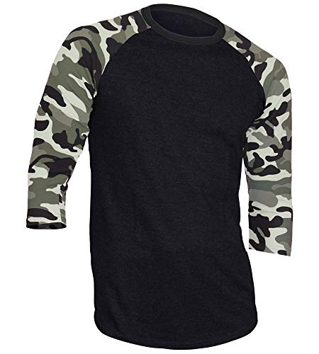 Dream USA Men's Casual 3/4 Sleeve Baseball Tshirt Raglan Jersey Shirt Black/Lt Camo 2XL