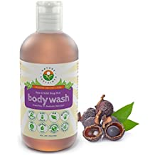 Raw Soapberry Eczema Body Wash – Organic Psoriasis Body Wash for Sensitive Skin & Dry Skin – Fragrance Free & Sulfate Free & pH Balanced & Wildcrafted – Made from Vegan Probiotics & Soap Nuts – 9 Oz.