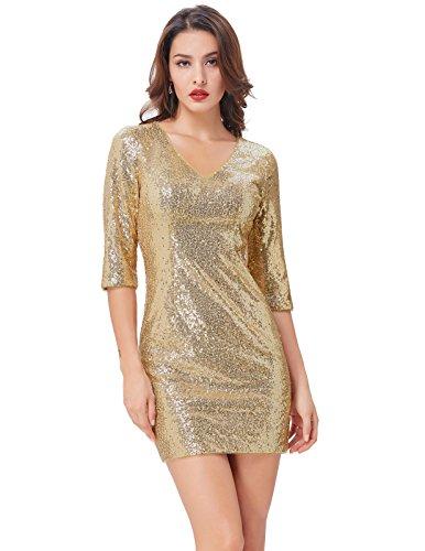 6046f5266ccd4 Threeseasons Womens Sexy V Neck Glitzy Glam Sequin Bodycon Mini Clubwear  Dress Golden Size 14 .