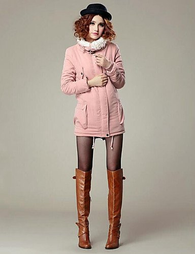 ORANGE Orange Pink Collar Padded Blue Coat Standing chic Sleeve Solid Green Black Long Street S Women's YRF wUSZfBxU