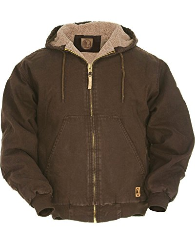 Berne Men's High Country Hooded Jacket Sherpa Lined Dark Brown X-Large (Sanded Hooded Work Jacket)