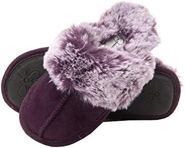 Jessica Simpson Girls Comfy Slippers Cute Faux Fur Slip-on Shoes Memory Foam House Slipper