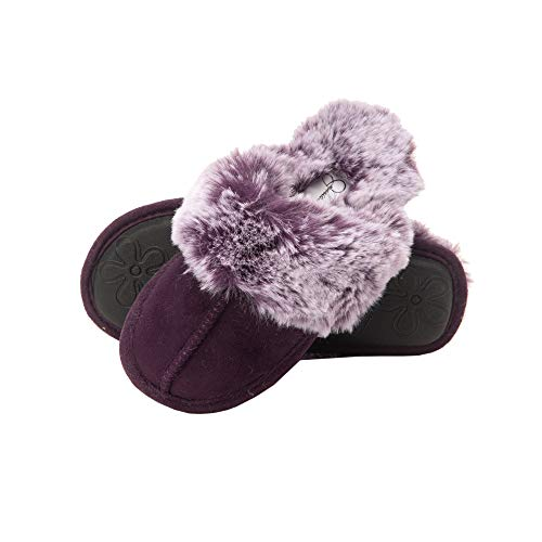 Jessica Simpson Girls Comfy Slippers - Cute Faux Fur Slip-On Shoes Memory Foam House Slipper (Purple, Size Small) (Shoes Kids Sole)