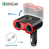 Opluz QC 3.0 Car Charger, 2 Sockets Cigarette Lighter with Dual USB 3.0 Fast Charge Car Splitter Adapter Built-in 10A Fuse for Samsung Galaxy S8/S8 Plus/Note 8, Dashcam GPS and MP3 Players
