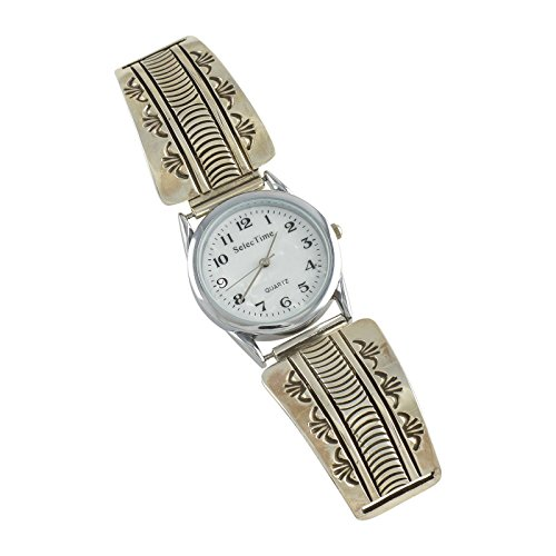 Bruce Morgan Sterling Silver Overlay Mens Watch Navajo Native American Jewelry