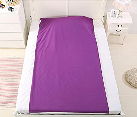 Klau Travel Outdoor Camping Single Sheet Compact Sleeping Bag Liner with Pillow Case and Carry Storage Bag Purple
