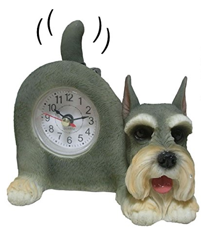 Wagging Table Clock - AIE GF89 Small Schnauzer Desk Clock 6