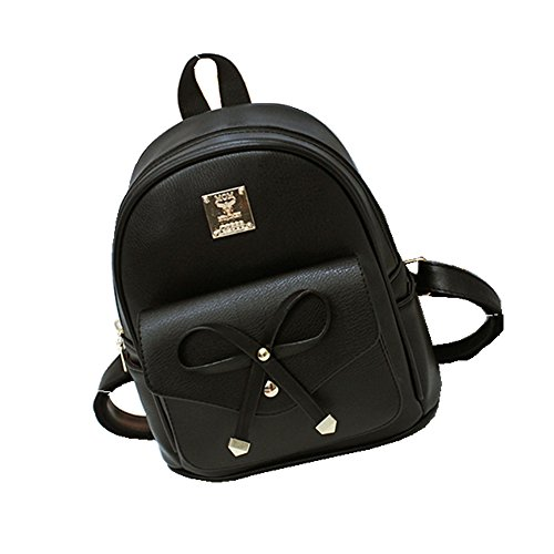 Women Backpack Purse PU Washed Leather Large Capacity Ladies Rucksack Shoulder Bag (small size black) by CYHTWSDJ