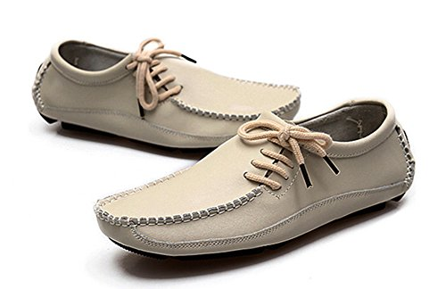 Aisun Mens Trendy Dress Leather Loafers Beige e9xqbpDsB8