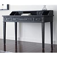 Tommy Hilfiger Catalana Writing Desk with Five Drawers and Open Workspace in Drifted Matte Black Oak