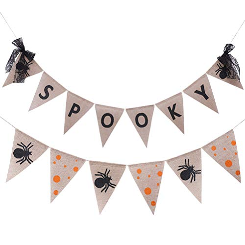 Amosfun Halloween Bunting Banner Halloween Spooky Letters Spider Banner Halloween Party Decorations Triangle Bunting Banners DIY Handmade Banners