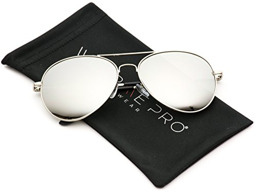 WearMe Pro - Mirror Lens Sunglasses Aviator Metal Frame Sunglasses (Silver Frame / Mirror Silver, - 56 Sunglasses
