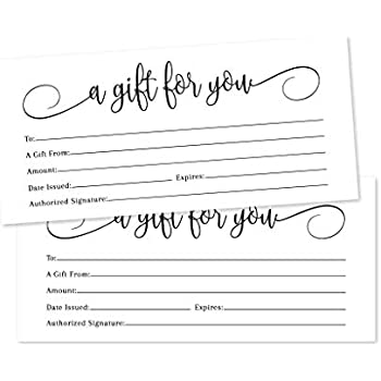 Amazon.com : 25 4x9 White Blank Gift Certificate Cards