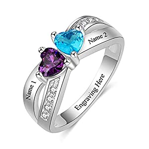 Yoke Style Personalized Promise Rings with Birthstones, Customized Engraved Mothers Ring Jewelry Gift for Women