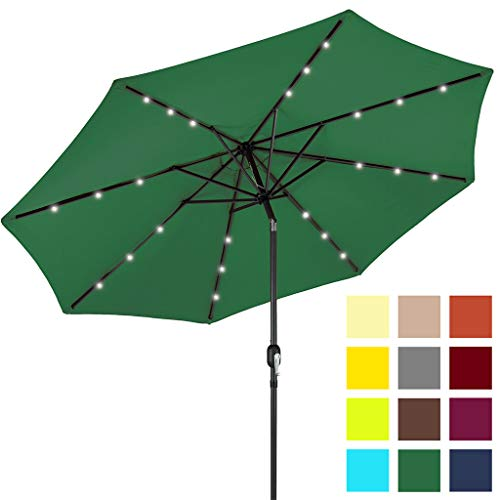 Best Choice Products 10-Foot Solar Powered Aluminum Polyester LED Lighted Patio Umbrella w/Tilt Adjustment and Fade-Resistant Fabric, Green (What Offset Umbrella Is An)