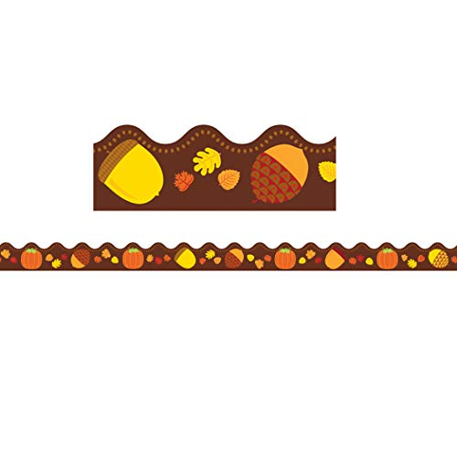 Carson Dellosa - Acorns & Pumpkins Scalloped Borders, Fall Classroom Décor, 13 Strips