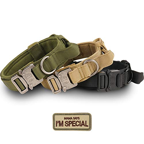 Tactical Dog Collar – KCUCOP Military Dog Collar with Mama Says I m Special Patch Thick with Handle K9 Collar Tactipup Dog Collars Adjustable Heavy Duty Metal Buckle for M,L,XL Dogs(Brown,L)