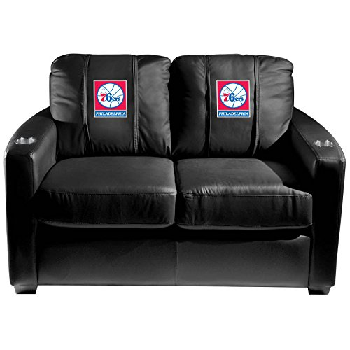 XZipit NBA Silver Loveseat with Philadelphia 76ers Logo Panel, Black