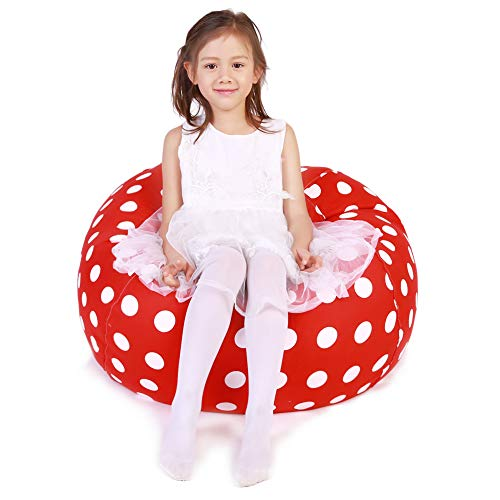 (Lukeight Stuffed Animal Storage Bean Bag Chair, Bean Bag Cover for Organizing Kid's Room - Fits a Lot of Stuffed Animals, Large/Red with White Polka Dot)