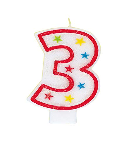 (Glitter Number 3 Birthday Candle & Happy Birthday Cake Topper)