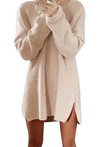 Bai You Mei Women's Casual Loose Long Sleeve Side Zipper Pullover Asymmetric Hem Sweater Tops Mini Dress Beige 4XL