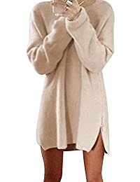 Bai You Mei Womens Plus Size Casual Side Zip Pullovers Sweater Mini Dress S-5XL