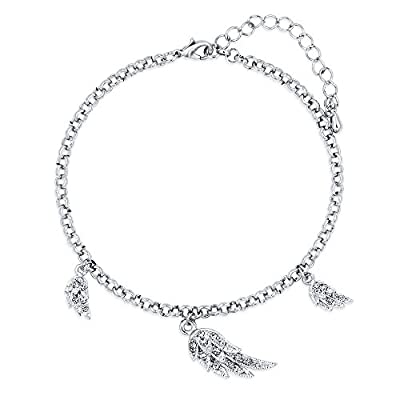 BERRICLE Silver-Tone Rhinestone Angel Wings Fashion Statement Charm Anklet