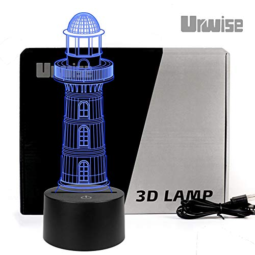 (Lighthouse 3D Optical Illusion Night Lights, Seven Color Variations, Smart Touch Button USB and Battery Power, Amazing Creative Art Design for Children's)