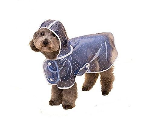 4494 Impermeable para perros y gatos medianos con gorro para la lluvia - Azul, L: Amazon.es: Productos para mascotas