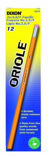 Oriole Woodcase Pencil, F #2.5, Yellow Barrel, 12 /pack