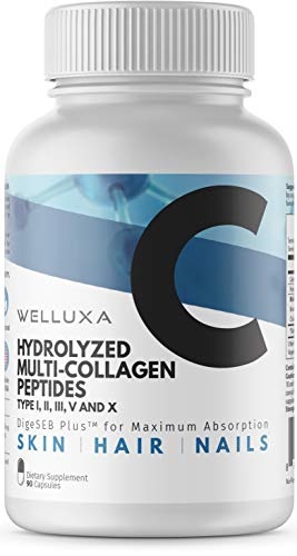 (Multi Collagen Peptide Capsules - Type I, II, III, V, X - Natural, Grass Fed, Bone Broth - Clinically Effective Hydrolyzed Collagen Protein Pills for Women (90 Count) )