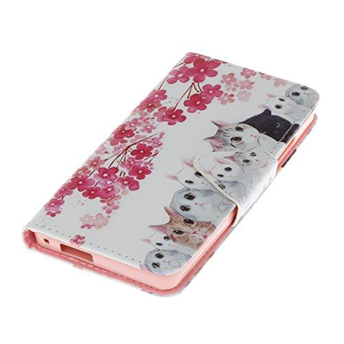 Ecoway Para Doogee X5 Funda, Serie pintada Caja del teléfono de moda (Color Campanula) PU Leather Cubierta , Función de Soporte Billetera con Tapa para Tarjetas Soporte para Teléfono Compatible Doogee Gatos