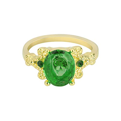 Clearance!!! Women Ring Jewelry Gold Filled Round Sapphire Halo Exgagement  Ring Women's Wedding Ring (Green4)