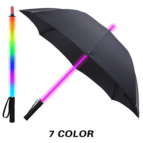Black Fabric LED Lightsaber Umbrella Flashlight in The Easy Grip Handle Golf Umbrellas with 7 Colors Sword Light up Changing on The Shaft Built in Torch at Bottom (Umbrella Up Light)