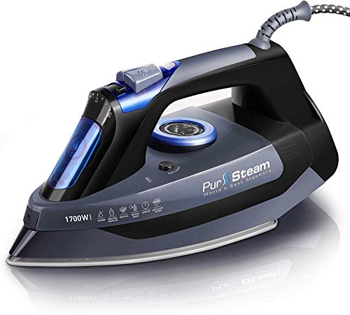 Professional Grade 1700W Steam Iron for Clothes with Rapid Even Heat Scratch Resistant Stainless Steel Sole Plate
