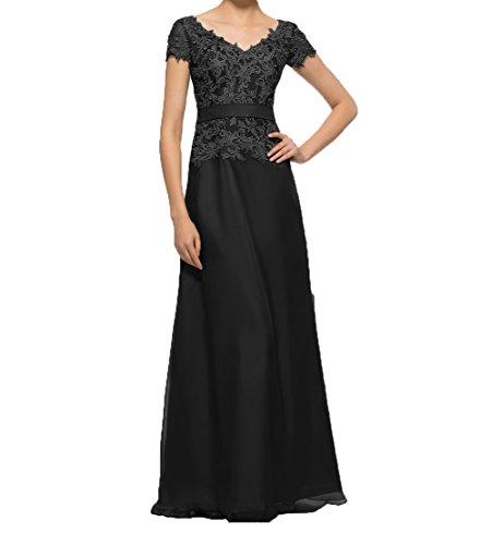Spitze mit Brautmutterkleider Abendkleider Kurzarm Lang Partykleider linie Elegant Damen A Charmant Promkleider Schwarz fqRvagn