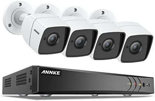 ANNKE CCTV Camera System 8-Channel Ultra HD 4K H.265 DVR and 4 5MP 2592 x 1920 HD Surveillance Bullet Cameras, Email Alert with Snapshots, Remote Access, IP67 Weatherproof No Hard Drive Included