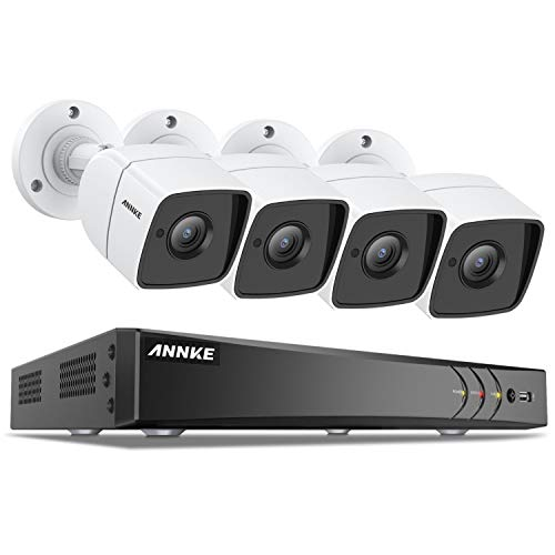 ANNKE CCTV Camera System 8-Channel Ultra HD 4K H.265+ DVR and 4×5MP (2592 x 1920) HD Metal Casing Cameras, Email Alert with Snapshots, Remote Access, IP67 Weatherproof