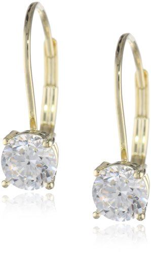 Sterling Round Cut Zirconia Lever Back Earrings