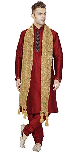 (Long Sleeve Hook & Eye Shirt Mens Long Kurta Pajama Stole 3- Pieces Set Indian Ethnic Fashion Wedding Party Wear -M Red)