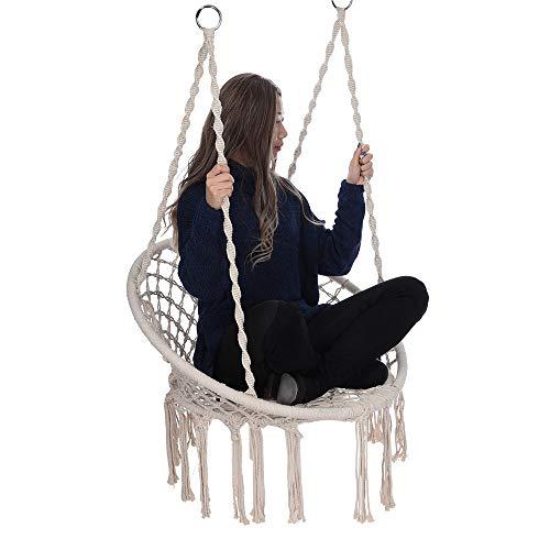 Denzar Macrame Hammock Swing Chair, Handmade Swing Chair Porch Swing Hammock, Prefect for Indoor/Outdoor Home Garden Yard Patio Balcony Reading Leisure(Ship from US)