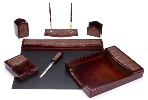 MAJESTIC Goods Seven-Piece Brown Mahogany Wood and PU Desk Set WP402