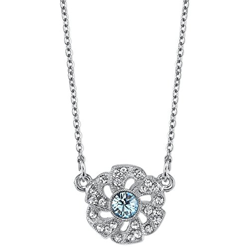 Aqua Blue Crystal Flower (Downton Abbey Silver-Tone Aqua Blue Crystal Flower Necklace)