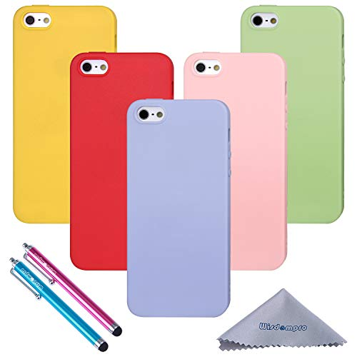 iPhone 5s Case, Wisdompro 5 Pack Bundle of Colorful Soft TPU Gel [Slim Fit] Protective Case Cover for Apple iPhone 5, iPhone 5s & iPhone SE (Green, Violet, Pink, Yellow, Red) - Candy Color
