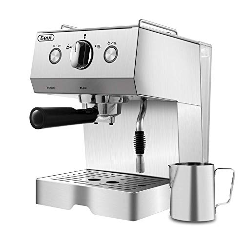 Espresso Machine Coffee Machine 15 Bar Stainless Steel Coffee Brewer with Milk Frother Wand, Package w/Free Milk Frothing Pitcher, for Cappuccino, Latte and Mocha (Stainless Steel) (Silver) (Bar Espresso Home)