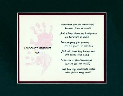 Personalized Child Handprint Mat Wall Decor Picture Saying (Handprint Poems)