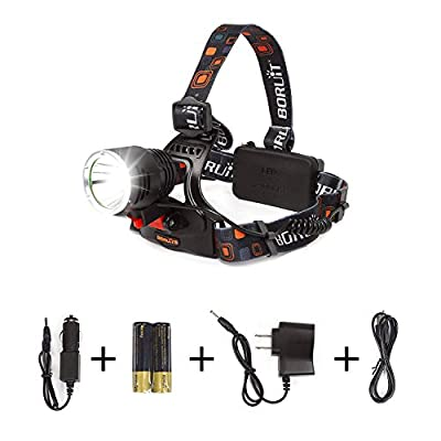 Boruit Rechargeable Headlamp Bike Head Lamp Flashlight 2000 Lumens gor Hiking Camping Hunting, 3 Modes with 2*18650 Batteries