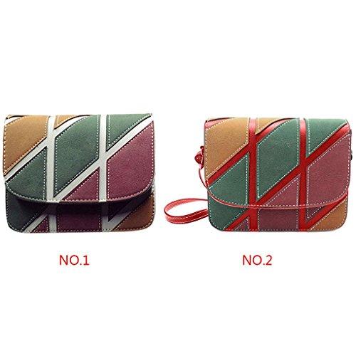 épaule Brochage PU Femmes Rouge Wallet Patchwork géométrique en Pouch Filles Arichtop Messenger Purse Sac cuir Femmes Bag H1wxS5