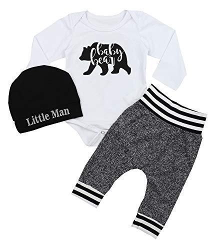Newborn Baby Boy Clothes Bear Print Romper+Long Pants+Hat 3PCS Outfits Set 0-3Months